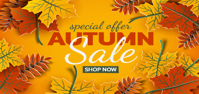 Autumn 3d sale banner, paper colorful tree leaves on yellow background. Autumnal design for fall season sale banner, special offer poster, flyer, web site, paper cut art style, vector